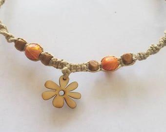 hemp choker necklace, beach jewelry, hippie jewelry, gifts for her, macrame jewelry, boho choker, gypsy, teen girl gifts, summer jewelry