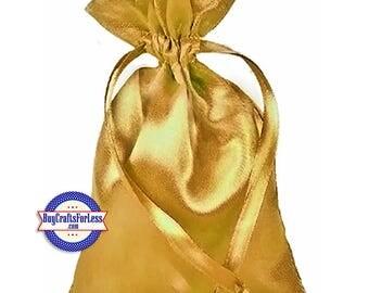 "99cent Shipping ~Solid SATIN Wedding / Party Favor Bag-its, 12 pcs 4 1/2"" x 7"", Gold +49cent ea addf'l item & Discounts*"