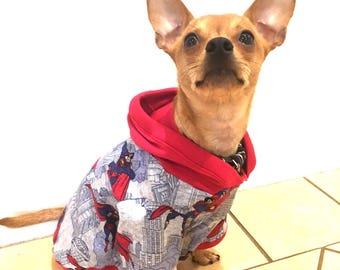 Dog Hoodie - Superman Hero hoodie, puppy hoodie, dog hoodie,  pet winter jumper, pet hoodie