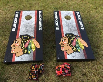 Chicago Blackhawks Cornhole Bean Bags Game Set Corn Hole