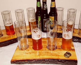 Live edge Cherrywood Beer Flights  with glasses