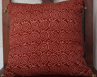 Punjab 30 series: Cushion 40x40cm (16 x 16), traditionally printed Indian cotton zig zag spiral patterns patterns.