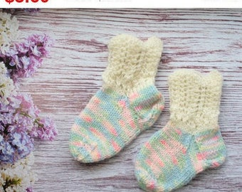 Traditional socks hand knit socks winter socks colorful knitted girls socks, Knitted baby socks baby booties rustic wool socks