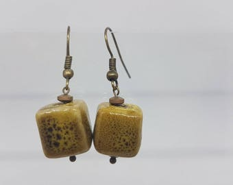 Mustard paint chips earrings