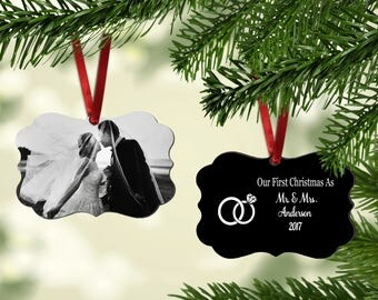 Newlywed Ornament | Photo Ornament| First Christmas As Ornament | Personalized Ornament| Mr. and Mrs. Ornament | Newlywed Gift | Wedding