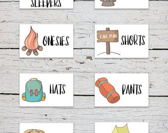 Printable Nursery Drawer Labels | Camping Nursery Theme | Camping Nursery Decor | Adventure Nursery Theme | Baby Clothes Labels
