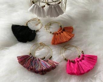 Tassel Earrings, Fringe Earrings, Fringe Hoops, Tassel Hoops, Boho Earrings, Hoop Earring, Lightweight Earrings,