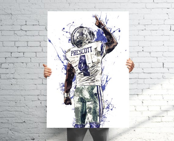 Dak prescott dallas cowboys sports art print poster for Dak prescott coloring pages