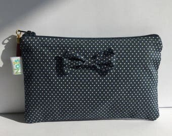 Pouch / clutch in teal cotton with polka dots