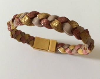 Leather Rose and gold bracelet