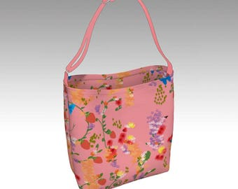 Pink Garden Tote Bag, Totes, Soft day bag, Book Tote, Grocery Bag, Everyday Tote Bag, Printed Tote Bag inside and out, Customized Strap