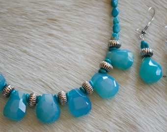 Genuine Turquoise with Chalcedony Briolettes and Sterling Silver Necklace with Matching Earrings.