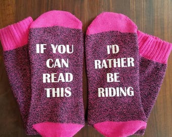 If You Can Read This I'd Rather Be Riding Bottoms Up Socks, horse lovers, motorcycle riders, Pink Socks, Gifts for Her, Thermal Socks
