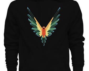 Maverick Bird Logan Paul color logo Pull Over Black Hoodie IN STOCK Christmas hoodie