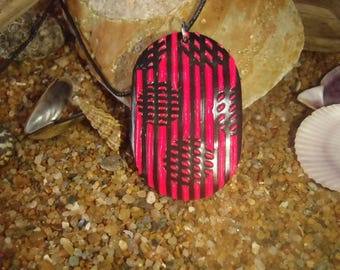 Necklace black and neon pink polymer clay Fimo effect illusion