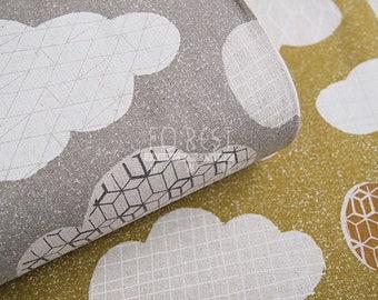 Cosmo cotton linen - Geometric cloud fabric- 50cm