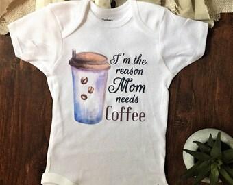 I'm the reason mom drinks coffee onesie, Im the reason mommy drinks shirt, Im the reason mommy drinks, I'm the reason mommy drinks shirt