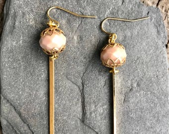 Glass bead and brass earrings