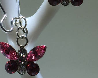 Rose Crystal Butterfly Earrings Labor Day Sale 15% Off