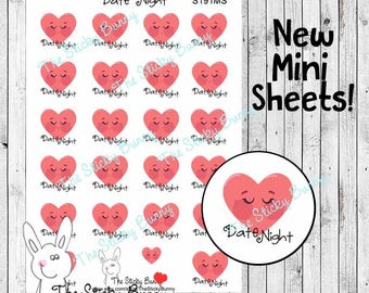 Date Night - Mini Sheet - Planner Stickers for Happy Planner, Erin Condren, Filofax, Kikkik (S191MS)