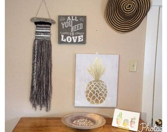 Grey & White Woven Wall Hanging