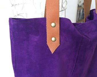 Suede | Leather | Tote Bag | Purple