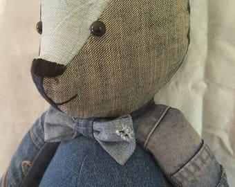 Handmade Teddy Bear created from reclaimed/upcycled denim.