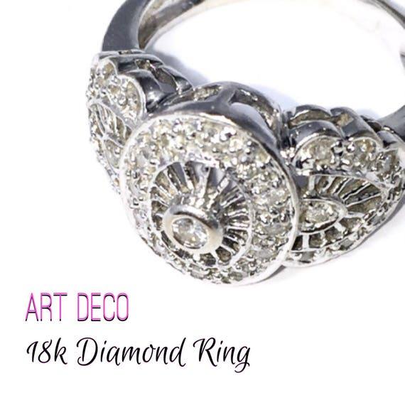 Cyber Monday SALE!  18k Art Deco Diamond Ring