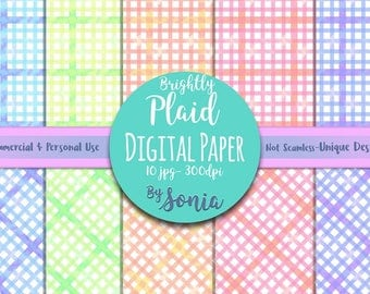 DIGITAL Download--Spring plaid patterned paper!10 designs, 12x12 inches, 300dpi. Commercial and Personal Use