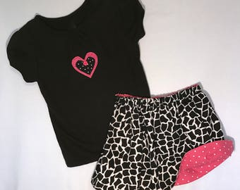 CLEARANCE!!  Toddlers Reversible Skirt Set; Animal Print Skirt with Top; Girls Reversible Skirt Set; Toddlers Skirt and Top; Toddlers Skirt