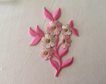 Has embroidered applique iron pink 12 cm approx