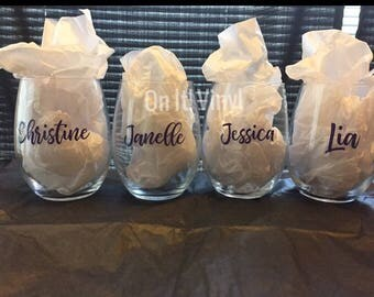 Bridal Party Wine Glass Set (4 glasses)