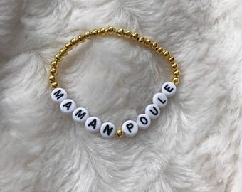 Pearl bracelet personalized with name or Word of your choice / model mother hen