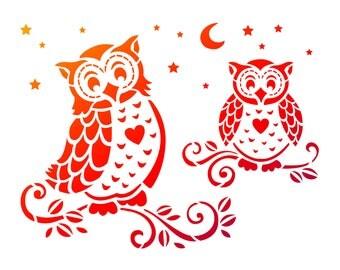 Owl, stencil, handicraft accessories, tool, Viva Decor, stencil technique, stenciling, Stencilschablone, stencil, plastic stencil