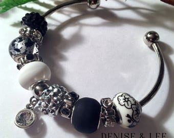 Black & White European Beaded Bracelet