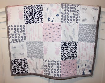 Pink Woodland Baby Quilt. Minky Quilt Blanket. Girl Quilt. Woodland Baby Blanket