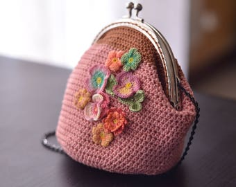Crochet clutch, cotton, flowers, borsellino