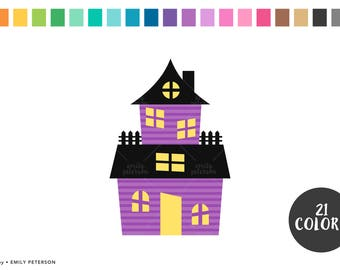 Haunted House, Halloween, House - Cute Clipart, Clip Art - Commercial Use, Instant Download
