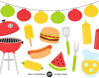 50% OFF SALE! Summer BBQ Clip Art, Barbecue Clipart, Cook Out Clip Art - Commercial Use, Instant Download