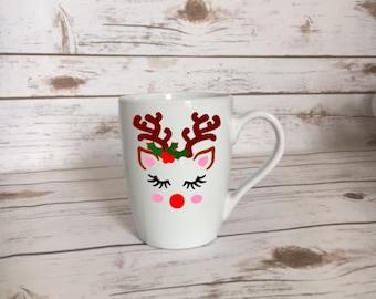Reindeer Mug, Floral Reindeer, Floral Antlers, Christmas Mug, Antler Christmas Mug, Reindeer Christmas Mug, Christmas Mug, Christmas Gift
