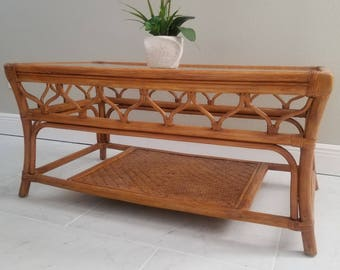 Set of Antique Chinese Bamboo Coffee Table & End Tables