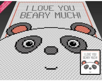 Beary Much crochet blanket pattern; c2c, cross stitch; graph; pdf download; no written counts or row-by-row instructions