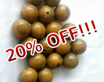 18mm Faux Brown Fudge Agate Marble Loose Beads Ball Shape Pack of 5