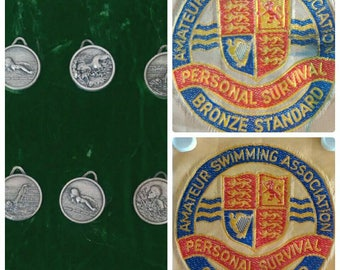 A Collection of Vintage Swimming Event Medals and ASA Patches (3865)