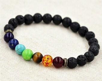 Aromatherapy Chakra Stretch Bracelet, Lava Bead Aromatherapy Bracelet, Chakra Healing, Essential oil,  Reiki, Yoga, Spiritual Healing