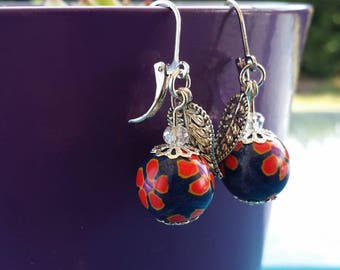 Handmade polymer clay and Silver earrings