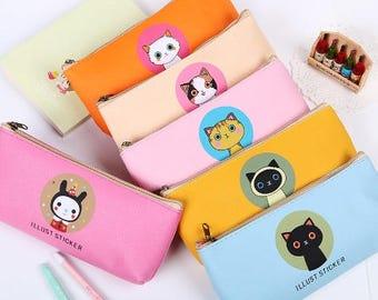 SALE! Cat Pen Case, Cat Pouch, Pencil Case, Cat Bag, Pencil Pouch, Pouch, Coin Pouch, Stationery Bag, Toiletry Bag, Bag