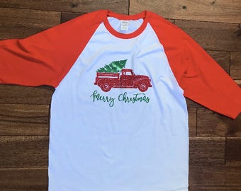 Merry Christmas truck baseball t-shirt