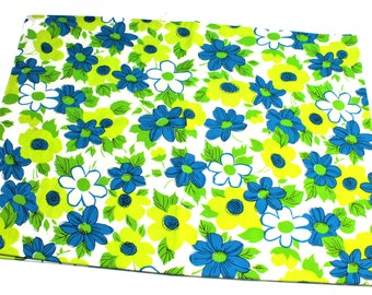 Vintage Blue/Green/Chartreuse/White Floral Heavy Cotton Fabric/Material