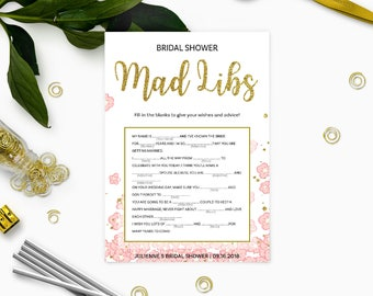 Pink and Gold Bridal Shower Mad Libs Game-Golden Glitter Floral DIY Printable Mad Libs Game-Personalized Bridal Shower Game-Bridal Mad Libs